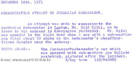 Assassination Jordan Ambassador 1971